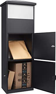 Steel Freestanding Parcel Mail Drop Box with Lockable Package Compartment, Black