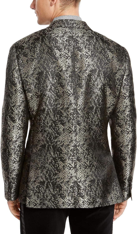 Tallia Mens Blazer Gold Snakeskin Jacquard Slim Fit Black 40