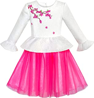 Sunny Fashion Girls Dress Pink Flower Cap Sleeve Tulle Skirt Size 7-14 Years