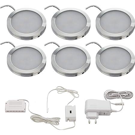 SEBSON® LED Lampe sous meuble cuisine, dimmable sans contact, Capteur Infrarouge, Lampes de Placard rond, Blanc Chaud, 6x 2W 130lm, Aluminium, lot de 6