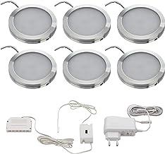 SEBSON LED Onderbouwlamp Warm Wit Set van 6, Contactloos Dimbaar, IR Sensor, LED Kastverlichting Rond 6x 2W 130lm 3000K, U...