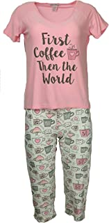 Elegant Emily Women's Plus Size Pajama Set, Short Sleeves, Capri Pants
