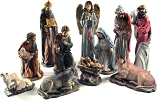 """Holiday Depot 17"""" Complete Christmas Nativity Scene Deluxe Italian Style - Realistic 11 Piece Gilded Resin Premium Set"""