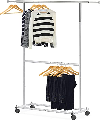 2021 Simple sale Houseware Double Rod Garment wholesale Rack, Silver online