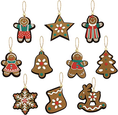 Athoinsu 10pcs Vintage Assorted Christmas Tree Decorations Cloth Gingerbread Snowflake Star Xmas Tree Stocking Bell E...