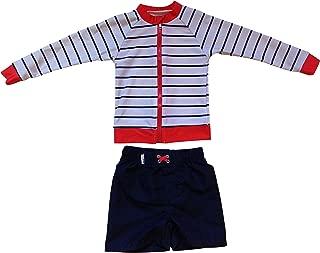 SwimZip Little Boy Long Sleeve Zipper UV Protective Rash Guard Set