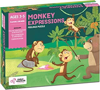 Chalk and Chuckles Monkey Expressions Preschooler Feelings Puzzle Ages 3 to 6 Years Old Promotes Social Emotional Learning