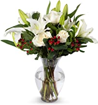 Benchmark Bouquets White Elegance Bouquet with Vase – Fresh Flowers – Overnight Shipping and Delivery – White Roses, White Oriental Lilies, Red Hypericum, Flower Bouquet, Floral Arrangements