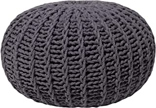 Beliani Knitted Pouf Cotton Pouf Round Footstool Living Room Gray 20-inch Conrad II
