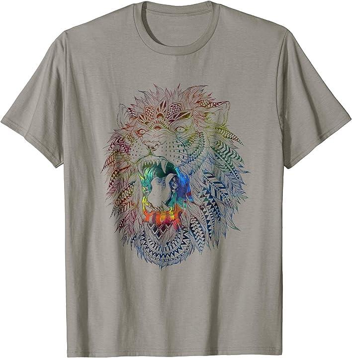 Lion Ethnic Tribal Tie Dye Animal T Shirt