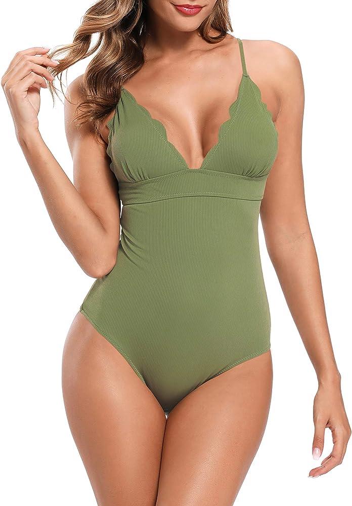 shekini, costume da bagno per donna, intero, 82% poliammide, 18% elastan, verde-1 1182n