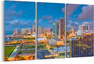 Miami Skyline Canvas Miami Canvas Art Miami Wall Art Canvas Florida Multiple Sizes Gallery Wrapped Canvas on Pine Wooden Frame