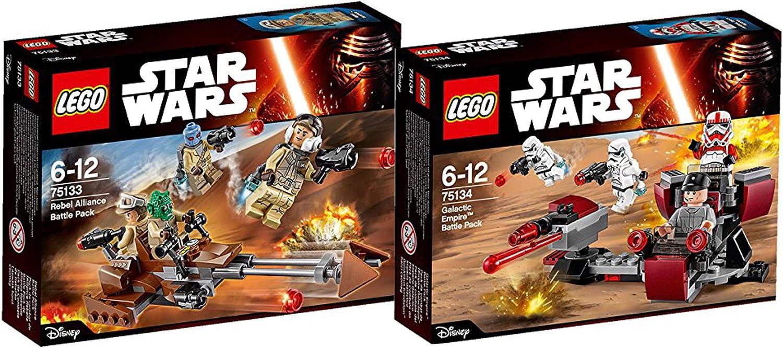 Lego Star Wars Set - 75133 Rebels Battle Pack mit 4 Trooper der Rebellen und 75134 Galactic Empire Battle Pack mit 2 x imperialen Stormtrooper , 1 x Shock Trooper und einem Techniker