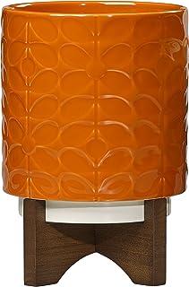 Orla Kiely | Łodyga 60's | Średnia | Ceramiczna doniczka na rośliny ze stojakiem | Pomarańczowa