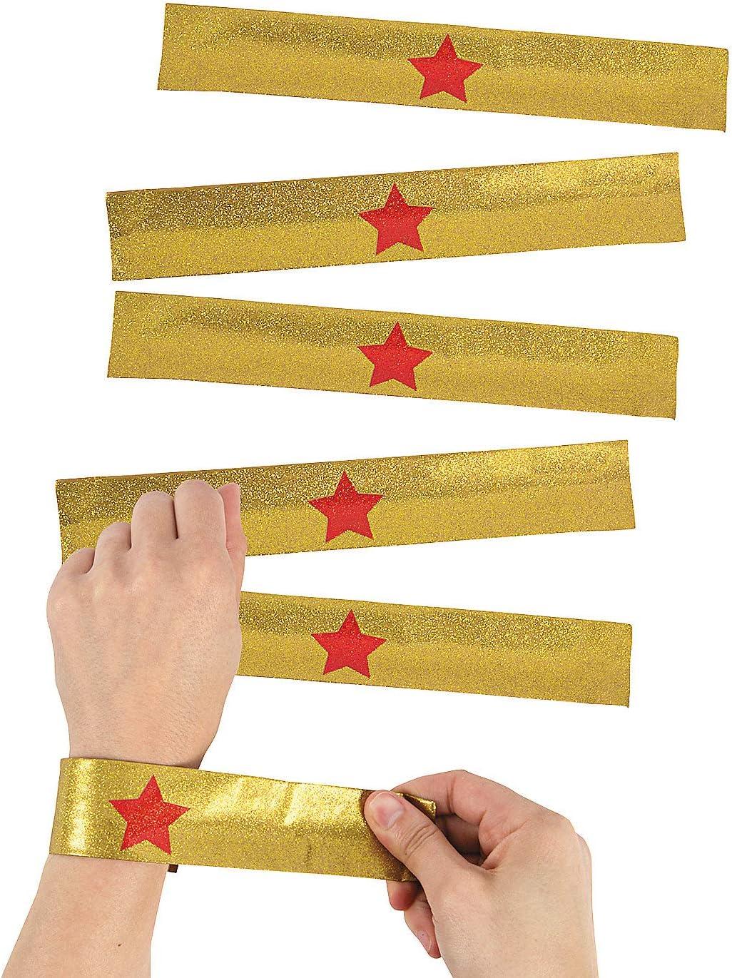 Gold Wonder Superhero Ranking TOP14 Max 59% OFF Slap Bracelet Birthday Girls 12 Pieces -