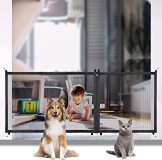 """JESTOP Zipper Mesh Dog Gate, Safety Baby Fence, 3 Sizes 82.6""""/47.2""""/35.4"""", Portable Folding Magic Gate for Stairs and Doors"""