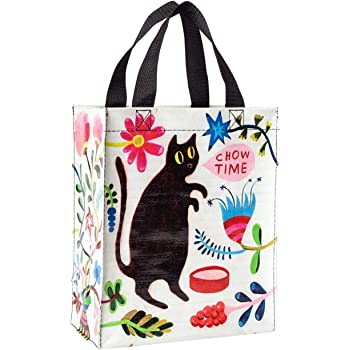 """Blue Q Handy Tote ~ Kitty Says it's Chow Time. Reusable lunch bag, little tote, gift bag, sturdy and easy to clean, made from 95% recycled material, 10""""h x 8.5""""w x 4.5""""d"""