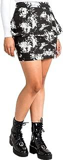 Curvy Womens Stretch Twill Black White Floral Print Peplum Skirts