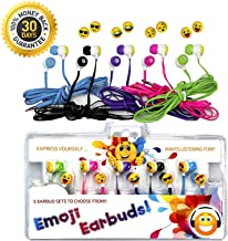 Vias Emoji Earbud 5 Pack of Assorted Smile Face Expressions Headphones Earbuds 3.5mm for iPod/SmartPhone/Tablet. Great for Kids, Boys, Girls, Gifts