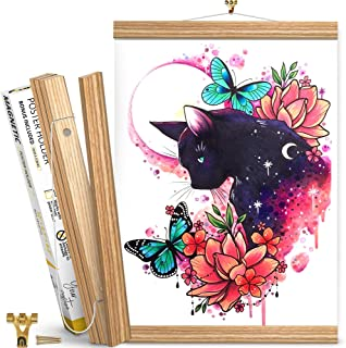 Magnetic Poster Hanger Frame 12 inch – Ash Wood Poster Holder for Pictures, Photos, Prints, Maps and Canvas Artwork – Magn...