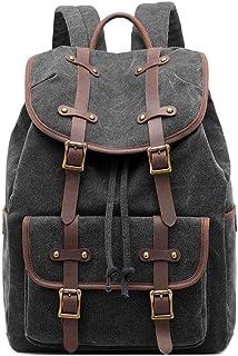 Neuleben Vintage Rucksack Daypack aus Canvas Leder Rucksäcke Tagesrucksack Retro Damen Herren für Schule Reise Outdoor Schwarz