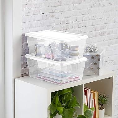 Sterilite 16448012 16 Quart/15 Liter Storage Box, White Lid with Clear Base, 12-Pack