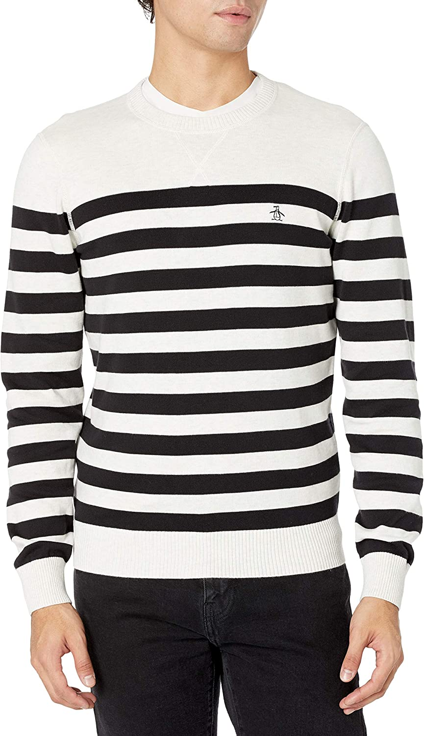 Original Penguin Men's safety Striped Cotton Ranking TOP15 Sweater Sleeve Long