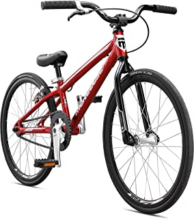 Mongoose Title Mini BMX Race Bike with 20-Inch Wheels in Red for Beginner Riders, Featuring Lightweight Tectonic T1 Aluminum Frame and Internal Cable Routing