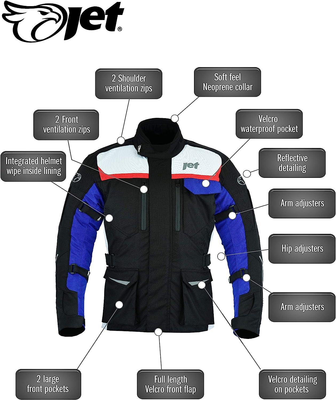 JET Motorcycle Motorbike Jacket Mens Textile Waterproof CE Armoured Aero Cool MERICANA 36-38 Small
