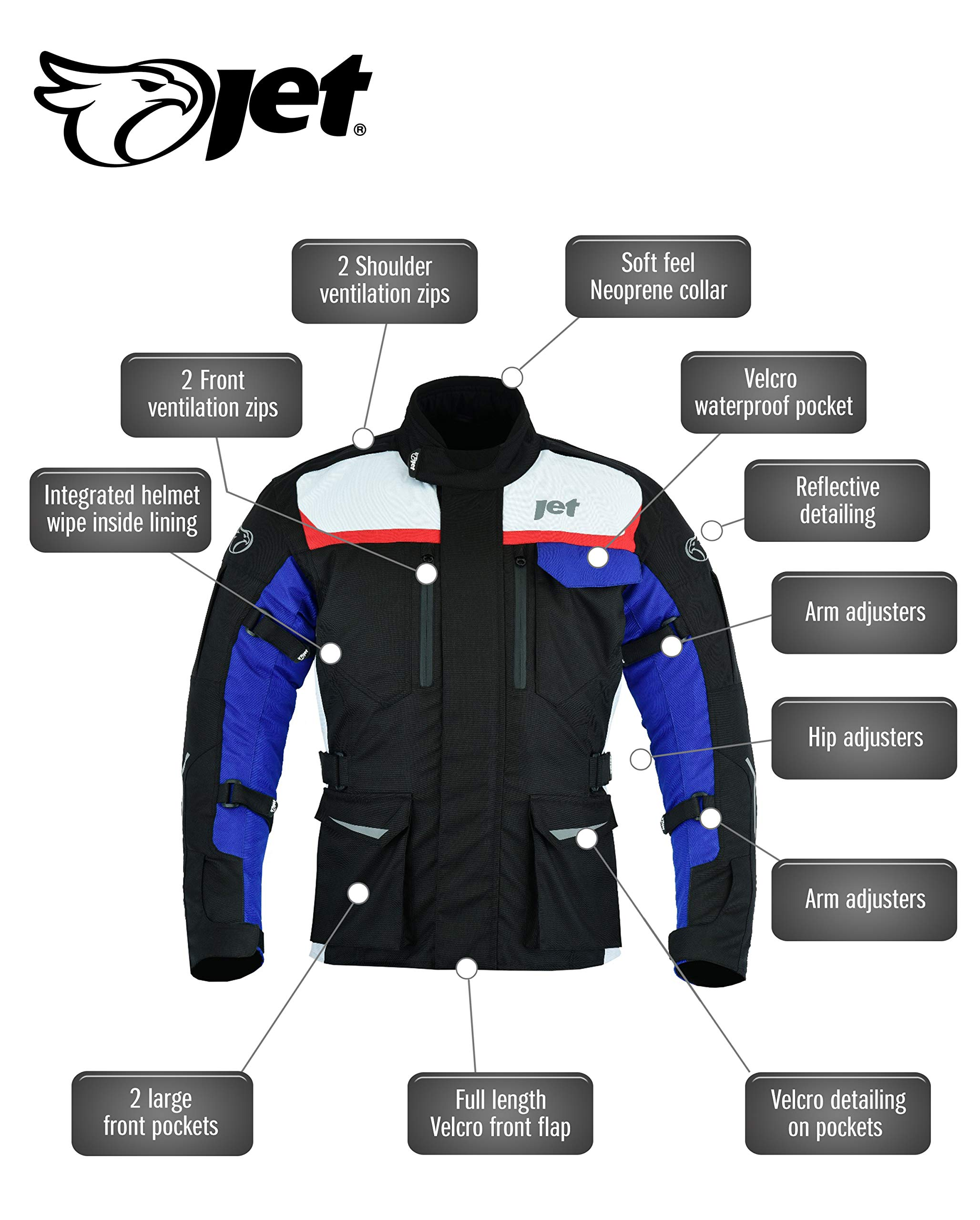 L , Grigio Argento EU 50-52 JET Giacca Giubbotto Moto Uomo Impermiabile Con larmatura Tessile STRIKER
