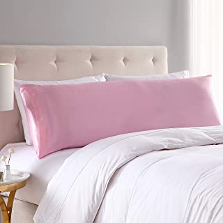EXQ Home Satin Body Pillow Cover Pink Silky Body Pillowcases with Envelope Closure 20x54 (Anti Wrinkle,Hypoallergenic,Wash-Resistant)