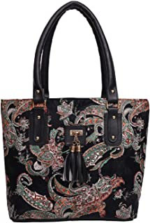 jsm fashion Women's Handbag (BLACK PRINT_Black)