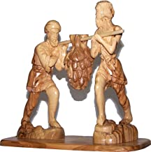 Caleb and Joshua (Hoshea) bringing the fruit of the Land - carved in olive wood (20 x 20 x 9 cm or 8 x 8 x 3.5 Inches)