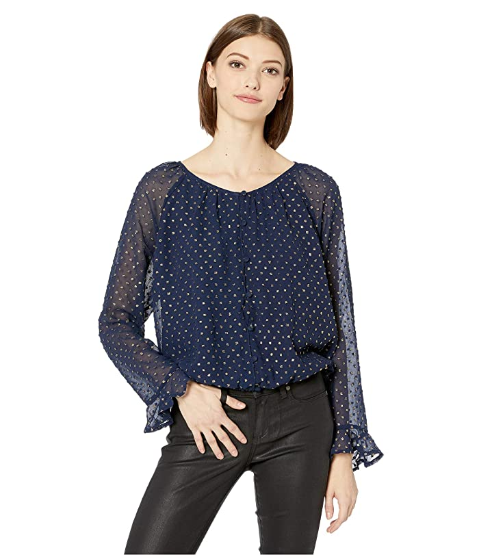 Jack by BB Dakota  Foiled Again Chiffon Button Front Peasant Blouse (Deep Ocean) Womens Clothing