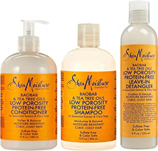 Shea Moisture Baobab & Tea Tree Oils Bundle   Low Porosity Protein-Free Leave-In Detangler 8 Oz, Low Porosity Protein-Free Conditioner for 13 Oz & Low Porosity Protein-Free Shampoo 13 Oz
