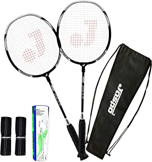 Jaspo Cosmo EZ-100 Plus (2 Badminton+Feather Shuttle Cork+ Carry Bag+Grip)(Multi Colour Racket)