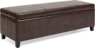 Best Choice Products Upholstered Faux Leather Storage Ottoman Bench for Living Room, Bedroom w/Wooden Frame - Espresso