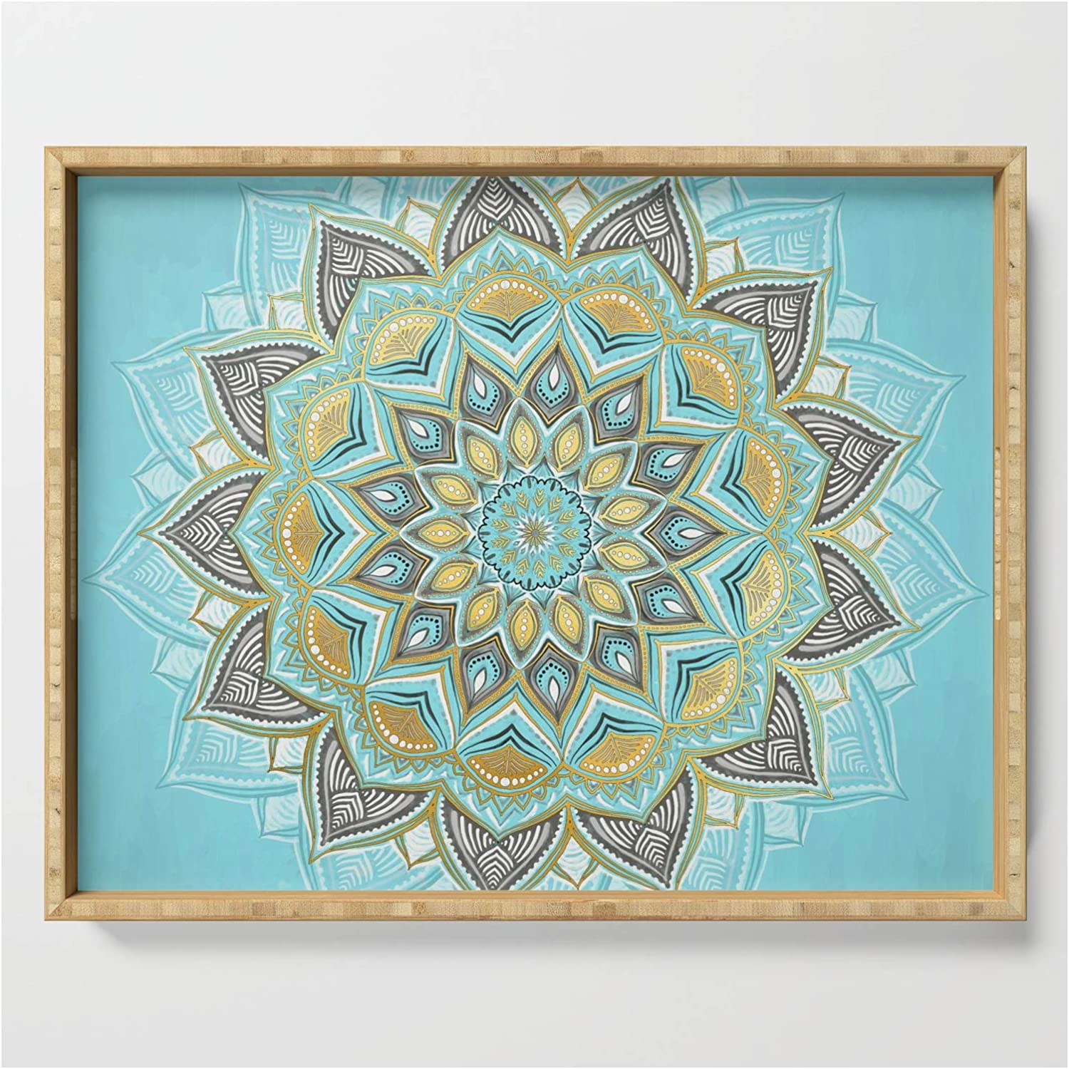 Cyan Golden Yellow Sunny Complete Free Shipping Tampa Mall Skies on Medallion Serving by Micklyn