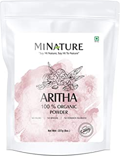 mi nature USDA CERTIFIED Organic Aritha Powder/Soap nut Powder(Sapindus Laurifolia) FOR SILKY HAIRS - (227g / (1/2 lb) USDA NOP Certified 100% Organic | Excellent Hair Conditioner