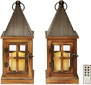"""Wood Flameless Candle Lanterns - Set of 2 Decorative Outdoor LED Lanterns, 15"""" Tall, Water Resistant, Rustic Farmhouse Style, Batteries & Remote Included"""