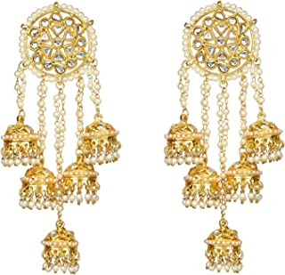 Runjhun Jewellery Handmade Royal Indian Kundan Golden Color Designer Ethnic Traditional Long Jhumki Dangler Earrings Women Girls