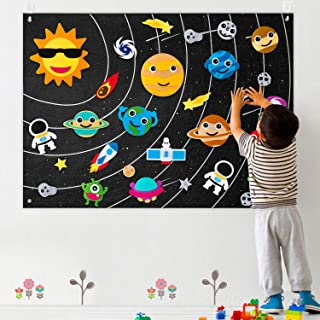 WATINC 35Pcs Outer Space Felt Board Story Set 3.5 Ft Solar System Universe Storytelling Flannel Interactive Play Kit with ...
