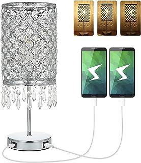 Lampe Cristal, Lampe de chevet en cristal avec 2 ports de chargement USB, lampe de table décorative / lampe de nuit / lamp...