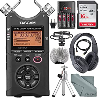 Tascam DR-40 4-Track Handheld Digital Audio Recorder with...