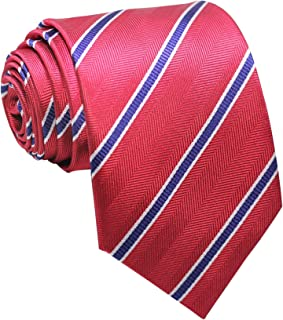 Men's Classic Striped white,Blue Jacquard Woven Silk Tie Necktie Red