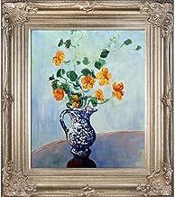 لوحة La Pastiche Nasturtiums في مزهرية زرقاء من أعمال Claude Monet، إطار بلون الشمبانيا مقاس 76.2 سم × 86.36 سم، من عصر ال...