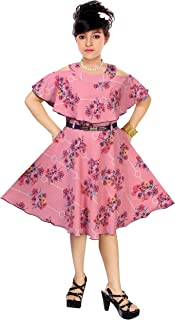 ARK DRESSES Girl's A-line Knee Length Frock (Ocean Pink, 6-7 Years)