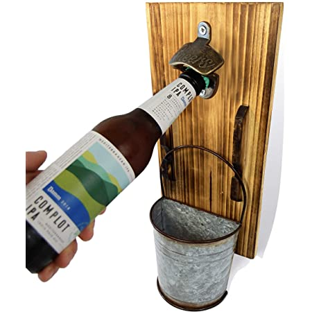 Wood Plaque Wall Mounted Bottle Opener A Robot Grows