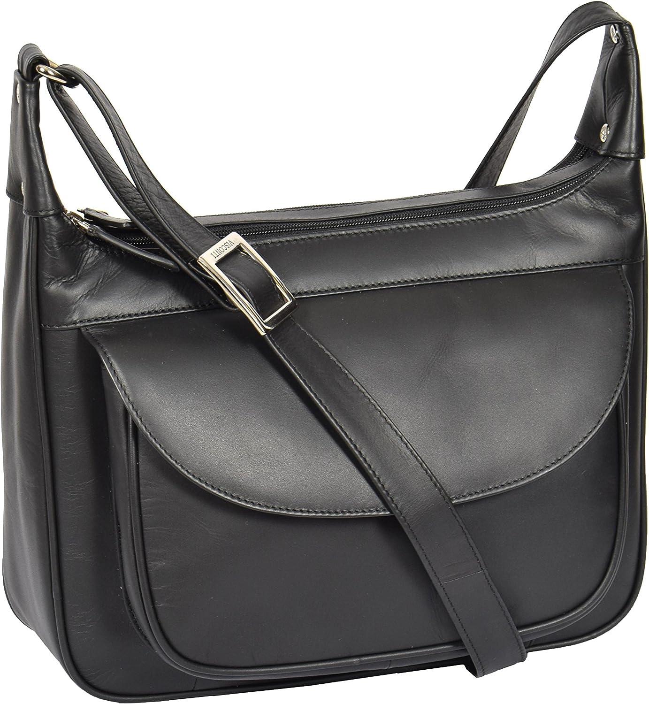 Ladies Genuine Leather Shoulder Cross Body Zip Top Messenger Bag Budapest Black