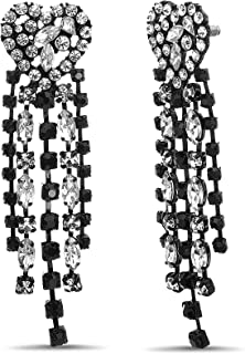 Steve Madden Black Toned Rhinestone Chain Tassle Heart Dangle Earrings for Women